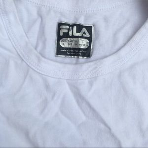 Fila Tops - White with blue writing Fila tank top